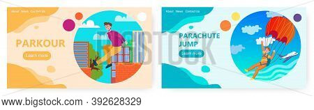 Man Jump With Parachute From The Plane. Urban Parkour And Sky Diving. Extreme Sport Vector Concept I