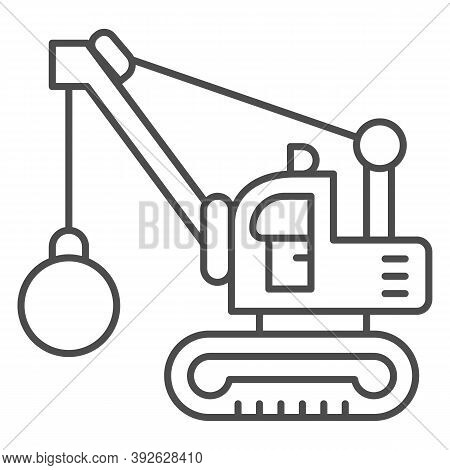 Excavator With Ball To Destroy Buildings Thin Line Icon, Heavy Equipment Concept, Crane With Wreckin