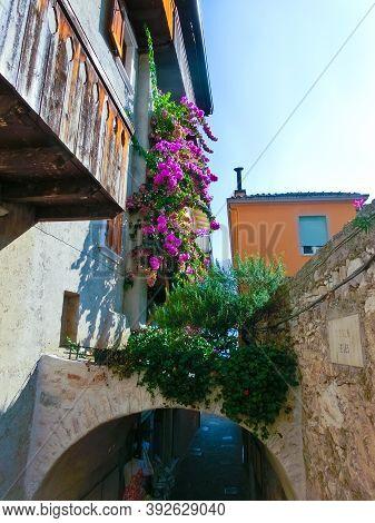 Limone Sul Garda, Italy - September 21, 2014: The Famous Village Of Limone Sul Garda On Lake Garda,