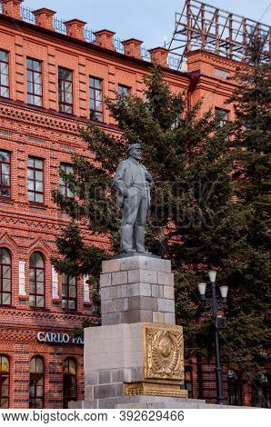 Russia, Khabarovsk, May 1, 2019:lenin Monument On Lenin Square