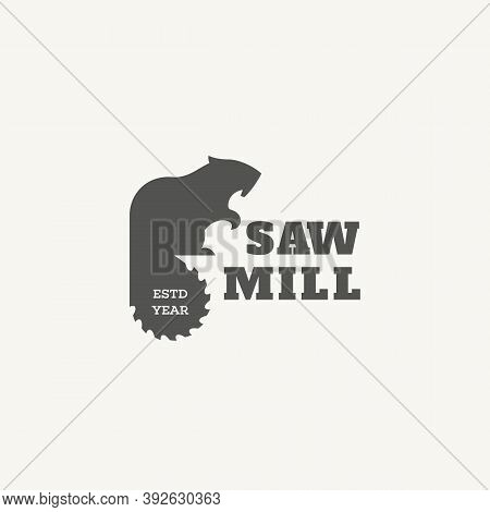 Logo Design Template With Beaver And Saw Blade For Sawmill, Wood Shop, Carpentry, Lumberjack Service