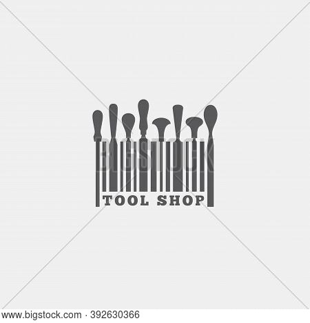 Logo Design Template With Set Of Tools And Bar Code For Tool Shop, Carpentry, Wood Shop, Woodworkers