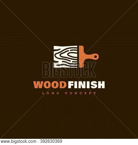 Logo Design Template With Stylized Brush For Wood Finishing Service, Wood Shop, Carpentry, Woodworke