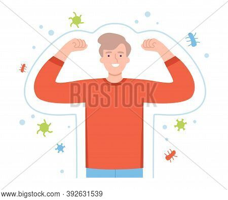Healthy Man Surrounded By Invisible Barrier For Bacterial Attack Vector Illustration