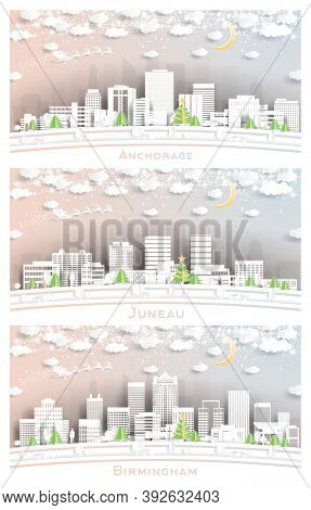 Juneau Alaska, Birmingham Alabama and Anchorage Alaska USA City Skylines Set in Paper Cut Style with Snowflakes, Moon and Neon Garland. Christmas and New Year Concept.