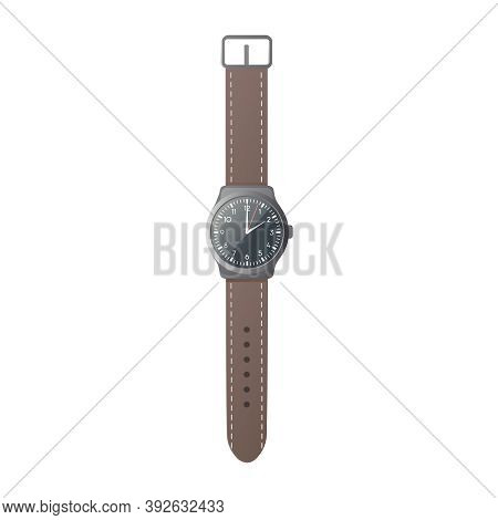 Analog Watch. Flat Vector Illustration. A Wrist Watch With A Brown Strap. Isolated On White Backgrou