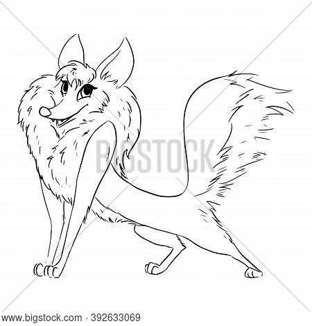 Cute Tricky Witty Fox Lineart Cartoon Illustration. Canine In Outline Style Image. Wild Animal In Co