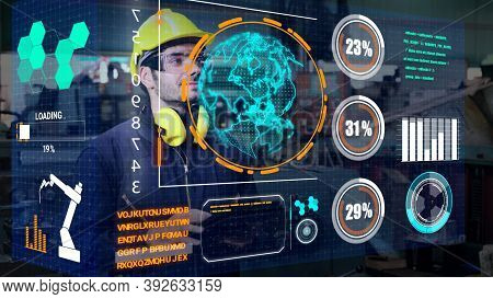 Factory Worker Use Future Holographic Screen Device To Control Manufacturing Machine In Factory . Co