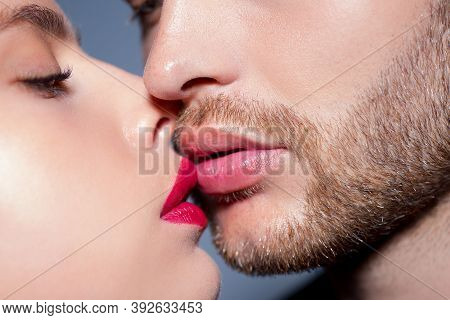 Man With Woman Kisses, Macro, Cropped Of Face. Sensual Couple Kissing. Kiss Lovers Lips