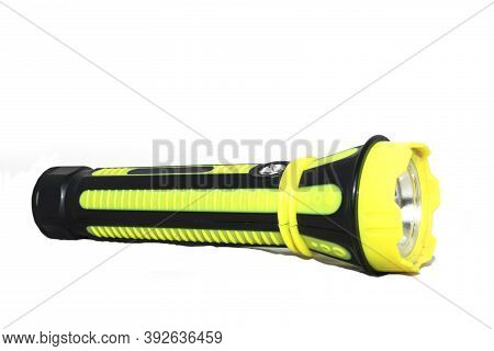 Electric Led Torch Flashlight Isolated On A White Backgrounds