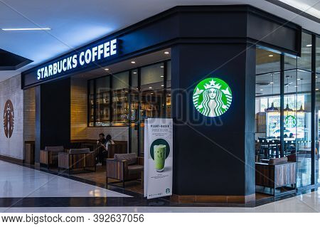 Roi Et, Thailand - Oct 4, 2020 : Starbucks Store In The Robinson Department Store. Starbucks Is The