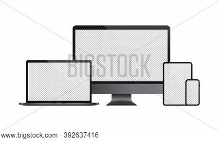 Realistic Set Of Computer Monitor, Laptop, Tablet, Smartphone Illustration. With Transparent Blank D