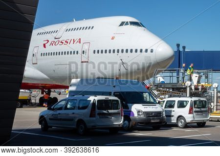 July 2, 2019, Moscow, Russia. Airplane Boeing 747 Rossiya Airlines At Vnukovo Airport In Moscow.