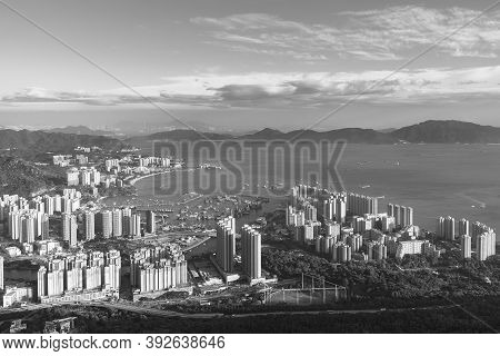 Landscape Of Tuen Mun District. Viewed From Castle Peak In Hong Kong City