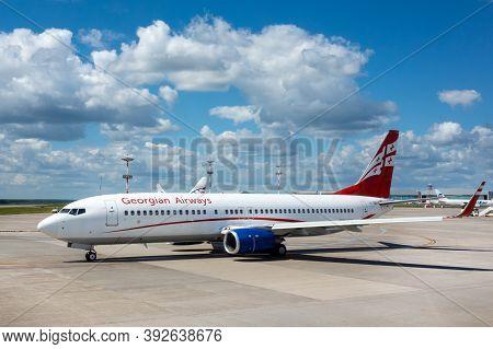 July 2, 2019, Moscow, Russia. Airplane Boeing 737-800 Airzena Georgian Airways At Vnukovo Airport In