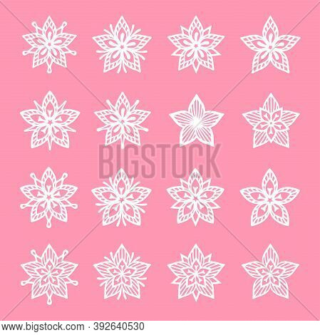 Big Set Of White Openwork Flowers On A Pink Background. Vector Silhouette, Decorative Element For Fe