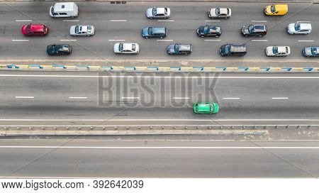 Aerial Top View Of Road Automobile Traffic Of Many Cars On Highway From Above, City Transportation C