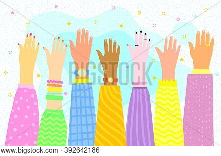 Concept Of Volunteering. Raised Multinational Hands. Flat Design