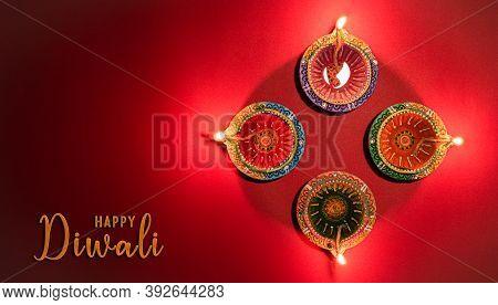 Happy Diwali - Clay Diya Lamps Lit During Dipavali, Hindu Festival Of Lights Celebration. Colorful T