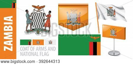 Vector Set Of The Coat Of Arms And National Flag Of Zambia