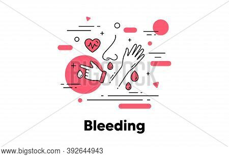 Bleeding Line Icon. Nose Bleed, Blood From Wound. Diabetes Symptom Concept Illustration. Blood Donat