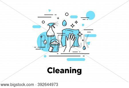 Cleaning Napkin Line Icon. Wipe And Disinfection By Cleaning Cloth And Spray. Clean Service Illustra