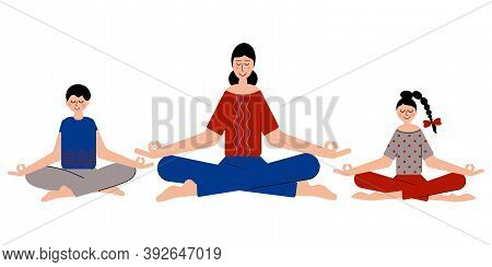 Women, Girl And Boy Meditate And Do Yoga Together To Feel More Relaxed. Meditating In Yoga Pose. Fam