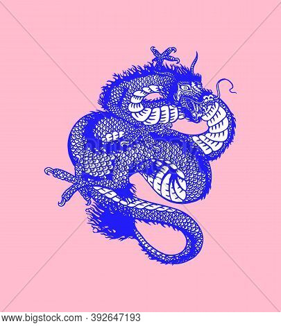 Japanese Dragon. Mythological Animal Or Asian Traditional Reptile. Symbol For Tattoo Or Label. Engra