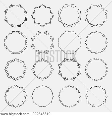 Set Of Vector Round Frames Made Of Wavy Intersecting Lines. Vintage Black Decorative Banners.