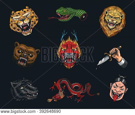 Set Of Fashion Patches. Tattoo Artwork. Bear Dragon Lion Snake Dagger Hare. Hand Drawn Engraved In O