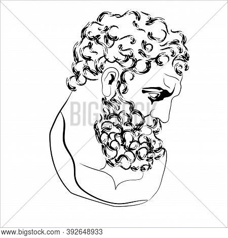 Vector Illustration Of The Head Of Hercules. Isolated Image Of Anic God.