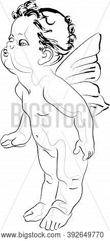 Vector Illustration Of A Kissing Cupid. Isolated Image Of An Antique Character.