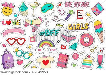 Fashion Patches Doodle Set. Collection Of Funny Comic Girl Teens Colouring Badges Fashionable Teenag