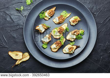 Blue Cheese With Dried Pears And Walnuts