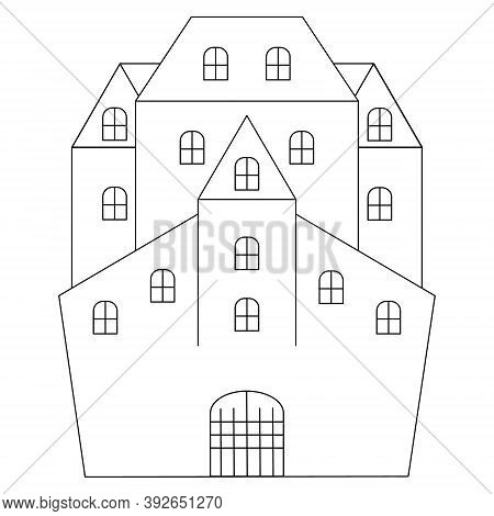 Mysterious House. Castle. Sketch. Vector Illustration. Coloring Book For Children. Outline On An Iso