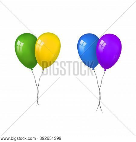 Balloons 3d Couple Set, Thread, Isolated White Background. Color Glossy Flying Baloon, Ribbon, Birth
