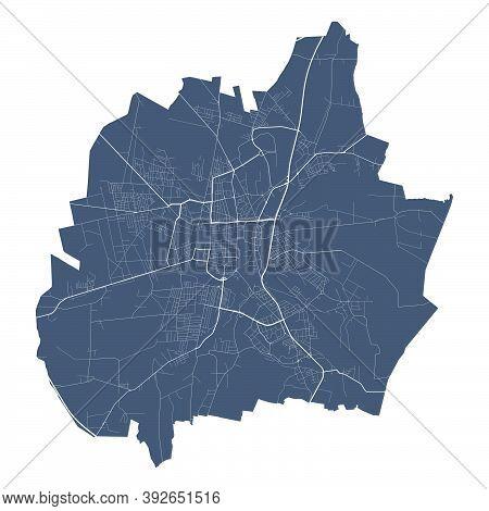Czestochowa Map. Detailed Vector Map Of Czestochowa City Administrative Area. Cityscape Poster Metro