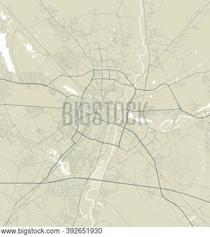 Detailed Map Of Poznan City Administrative Area. Royalty Free Vector Illustration. Cityscape Panoram