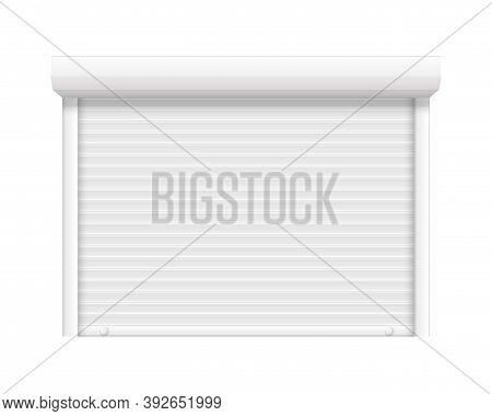 Garage Shutter Door. Closed Roller Steel Store Window. Realistic Lock Shop Door