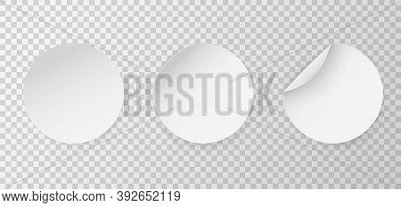 Circle Adhesive Mockup. Round Stickers. Circular Sticker Set. Realistic 3d Blanck White Label Templa