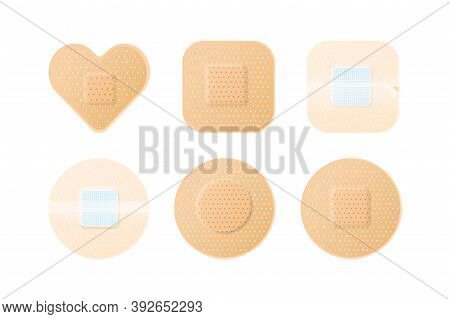 Collection Of Realistic Medical Adhesive Plasters Patches. Modern Perforated Medical Bandaids. First