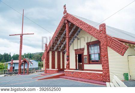 Rotorua, New Zealand -december-11-2017 : The Maori Marae A Sacred Meeting Ground In Whakarewarewa Th