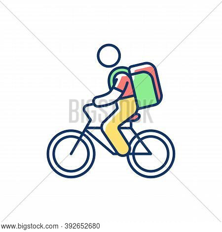 Food Delivery Person Rgb Color Icon. Meal And Groceries Delivery. Restaurant Takeout. Online Food Or