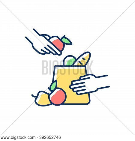Grocery Bagger Rgb Color Icon. Packer. Putting Groceries Into Shopping Bag. Assisting Cashier. Part
