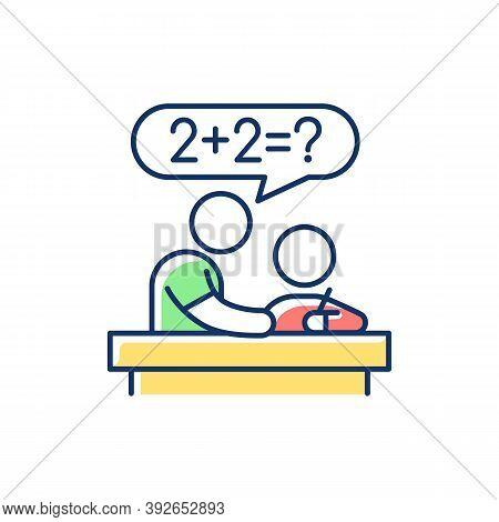 Tutor Rgb Color Icon. Private Teacher. Homework Help. Students Teaching. Instructing Kids. Test Prep