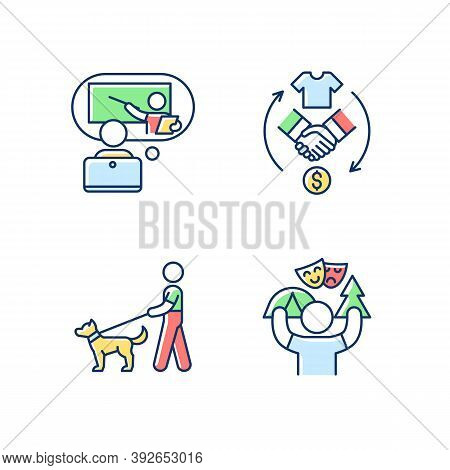 Job Opportunities Rgb Color Icons Set. Online Tutor. Reseller. Dog Walker. Camp Counselor. E-learnin