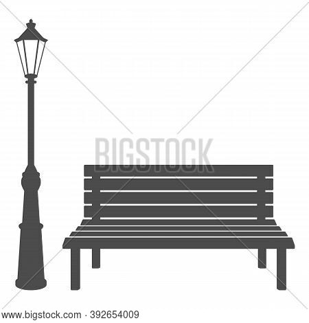 Bench And Streetlight Isolated On White Background. Vector Illustration.