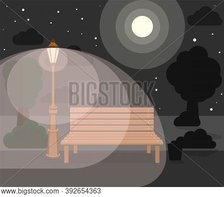 Bench And Streetlight In The Park. Vector Illustration.