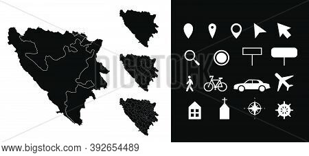 Map Of Bosnia And Herzegovina Administrative Regions Departments With Icons. Map Location Pin, Arrow