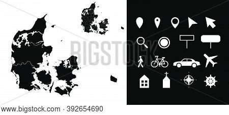 Map Of Denmark Administrative Regions Departments With Icons. Map Location Pin, Arrow, Looking Glass